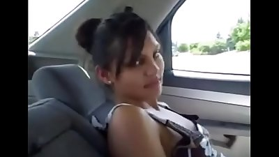 Amateur shy Indian gives blowjob in car